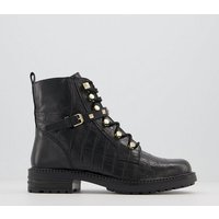 shop for Office Approve Feature Strap Lace Up Boots BLACK CROC LEATHER MIX at Shopo