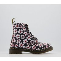 shop for Dr. Martens 1460 8 Eye Boots BLACK RED PANSY FARYE at Shopo