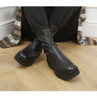 Office Assess Chunky Stretch Boots BLACK LEATHER