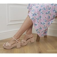shop for Office Mexicana Two Part Platform Heels NUDE at Shopo