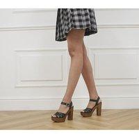shop for Office Hesse Wood Block Heel Sandals BLACK LEATHER at Shopo