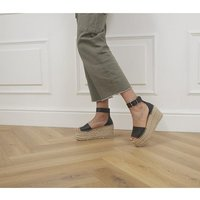 shop for Office Hare Two Part Espadrille Flatforms BLACK LEATHER at Shopo