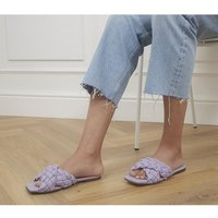 shop for Office Stare Plaited Cross Strap Mules LILAC LEATHER at Shopo
