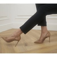 shop for Office Half Hour Mesh Pointed Court Heels NUDE NUBUCK at Shopo