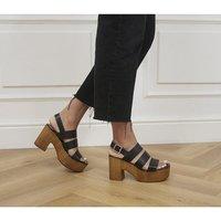 shop for Office Mediation Wood Block Platform Heels BLACK LEATHER at Shopo