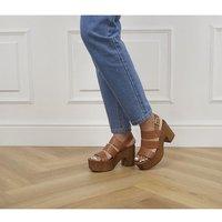 'Office Mediation Wood Block Platform Heels Tan Leather