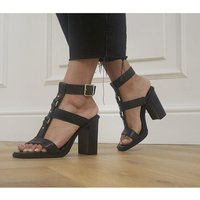 shop for Office Here And Now Gladiator Block Heels BLACK LEATHER WITH HARDWARE at Shopo