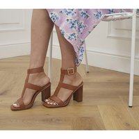 shop for Office Here And Now Gladiator Block Heels TAN LEATHER at Shopo