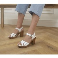 shop for Office Meagan Strappy Two Part Wood Block Heels WHITE LEATHER at Shopo