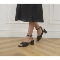 shop for Office Maggy Pinch Detail Block Heels BLACK LEATHER at Shopo