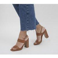 'Office Herat Two Part Sling Back Block Heels Tan Leather
