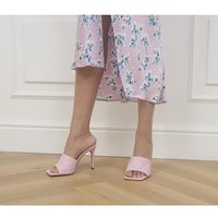 shop for Office Hatter Quilt Detail Mule Stilettos PINK LEATHER at Shopo