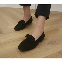 Office Front Soft Bow Loafers BLACK SUEDE