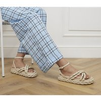 shop for Office Magnify Rope Flatform Sandals OFF WHITE LEATHER at Shopo