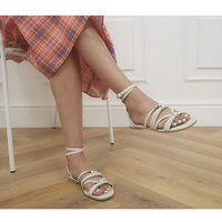 shop for Office Steffi Tubular Ankle Tie Sandals OFF WHITE LEATHER at Shopo