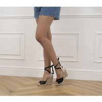 shop for Office Hermada Twist Detail Espadrille Wedges BLACK SUEDE LEATHER MIX at Shopo