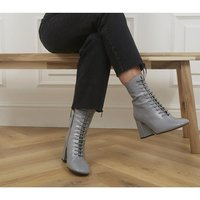 shop for Office Affiliate Lace Up Dressy Square Toe Boots PALE GREY LEATHER at Shopo