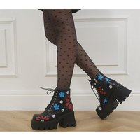 La Moda Free Spirit Chunky Boots BLACK FLOWERS