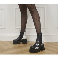 shop for Lamoda Come Together Chunky Boots BLACK WHITE at Shopo