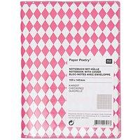 Paper Poetry Notizbuch A6 mit Hülle neonpinke Rauten