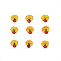 Rico Design Sticker Blüte mit Marienkäfer 1,5cm 9 Stück