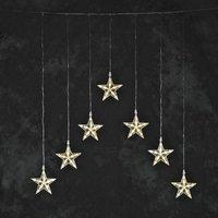 Lichtgordijn led met 7 sterren, warmwit