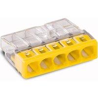 Wago Lasklem 5 polig transparant geel (10 stuks)