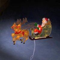 Bont raamdecoratie Kerstman met rendieren