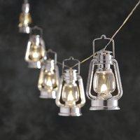 LED feestverlichting met zilveren lantaarns