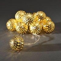 Goudkleurige LED-lichtketting metalen ballen groot