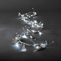 energie A+, LED-lichtketting zilverkleurige parels en sneeuwkristallen 20 koudwitte dioden voor binn