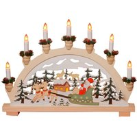 Prachtige kerstkandelaar Weihnachtsmann, 7-lichts