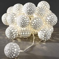 LED-lichtketting m. metalen ballen, warm-wit 24-d.