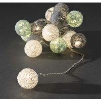 LED decoratieve lichtsnoer gekleurde textielbollen 3.5cm