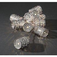 LED decoratieve lichtsnoer met 10 zilverkleurige metalen cilinders, 3137-303
