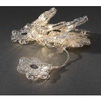 LED Decoratieve lichtsnoer met 10 zilverkleurige metalen bloemen, 3144-303