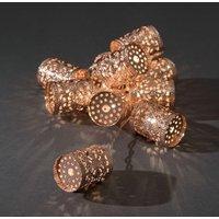 LED Decoratieve lichtsnoer met 10 koperkleurige metalen cilinders, 3137-603