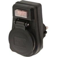 Stopcontact Adapter Aan-Uit-Schakelaar 1 x Schuko Zwart