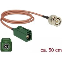 DeLOCK 89681 0.5m FAKRA E BNC Bruin, Groen coax-kabel