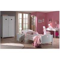 Chambre complète Maisonetstyles Ensemble lit 90x200 cm + chevet + armoire 2 portes  + bureau blanc