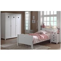 Chambre complète Maisonetstyles Ensemble lit 90x200 cm + chevet + armoire 3 portes blanc