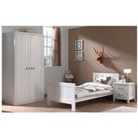 Chambre complète Maisonetstyles Ensemble lit 90x200cm + chevet + armoire 2 portes blanc - lambis