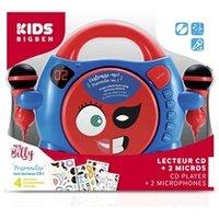 Interface Audio BIG BEN INTERACTIVE Lecteur cd portable avec  2 micros - bleu et rouge  + stickers