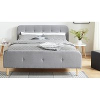 Lit de 2 places Homifab Lit adulte scandinave en tissu gris clair capitonné, sommier à latte, 140x190 - collection mark