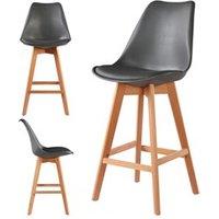 Tabouret (ANCIENNE FAMILLE 2017-09-29 13:42:20.96) Le Stock Design 2 chaises hautes tabourets design scandinave gris - skagen