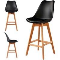 Tabouret (ANCIENNE FAMILLE 2017-09-29 13:42:20.96) Le Stock Design 2 chaises hautes tabourets design scandinave noir - skagen