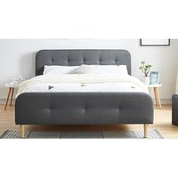 Lit de 2 places Homifab Lit adulte scandinave en tissu gris foncé capitonné, sommier à latte, 140x190 - collection mark