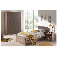 Chambre complète Maisonetstyles Lit 90x200cm + chevet + armoire 2 portes bois naturel - lola
