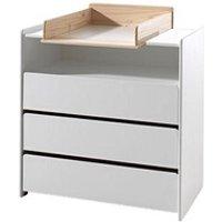 Chambre complète Maisonetstyles Commode 3 tiroirs avec plan à langer en pin blanc et naturel - kidly