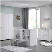 Chambre complète Maisonetstyles Lit bébé + commode + armoire 3 portes en pin blanc - vicky